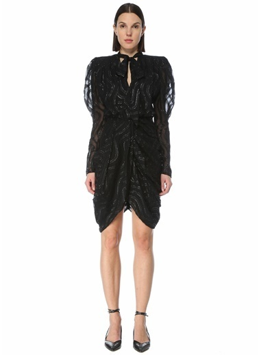 Etoile Isabel Marant Isabel Marant  Yakası Bağcıklı Sim Dokulu Mini Elbise 101623689 Siyah
